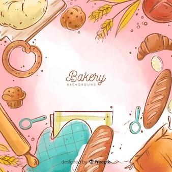Fundo de padaria em aquarela