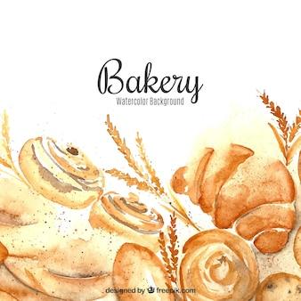 Fundo de padaria em estilo aquarela