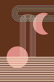 Fundo de padrão boho moderno de meados do século design de arte para cartaz decoração de parede contemporânea vetor