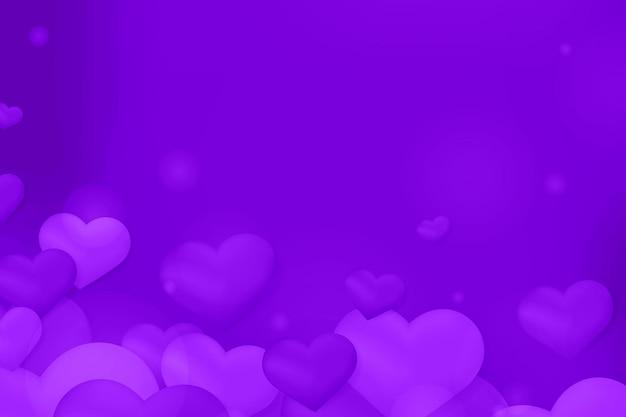 Fundo de padrão bokeh bolha coração roxo