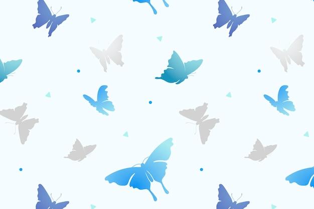 Fundo de padrão borboleta, vetor estético azul feminino