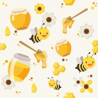 Fundo de padrão de abelha de mel