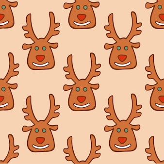 Fundo de padrão de biscoitos de rena de papai noel de natal ilustração em vetor de natal