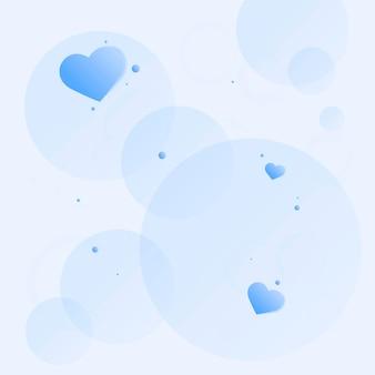 Fundo de padrão de bolha de coração fofo