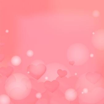 Fundo de padrão de bolha de coração rosa