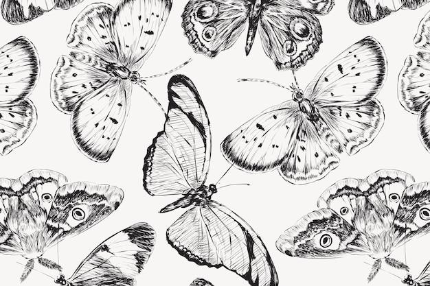 Fundo de padrão de borboleta vintage, vetor de design preto e branco