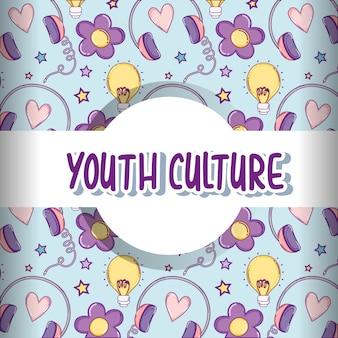 Fundo de padrão de cultura de juventude com desenho gráfico de ilustração em vetor bonito dos desenhos animados