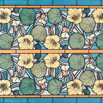 Fundo de padrão de flor de capuchinha em estilo art nouveau