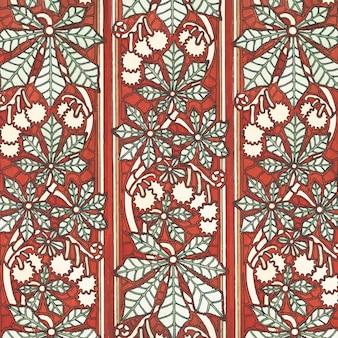 Fundo de padrão de flor de castanha em estilo art nouveau