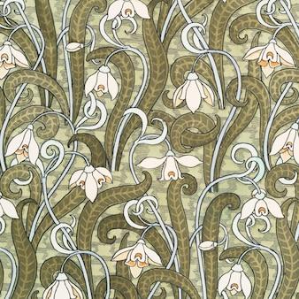 Fundo de padrão de flor de snowdrops art nouveau