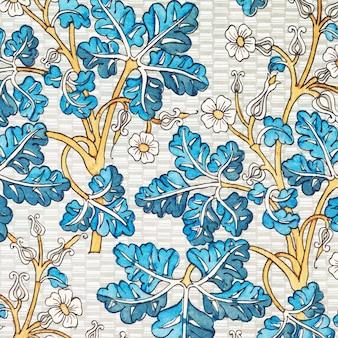 Fundo de padrão de flor imperial de coroa art nouveau