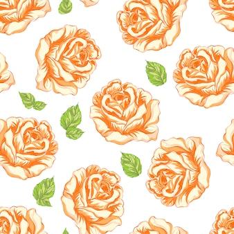 Fundo de padrão de flores de laranja