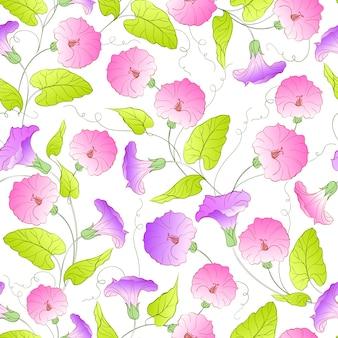 Fundo de padrão de flores roxo e rosa