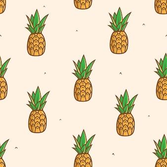 Fundo de padrão de fruta abacaxi sem emenda