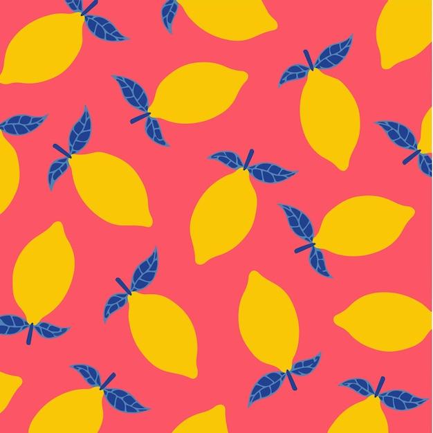 Fundo de padrão de limão mídia social postar ilustração vetorial de frutas