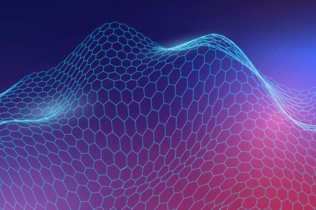 Fundo de padrão de onda abstrato 3d azul