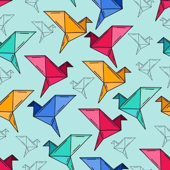 Fundo de padrão de origami de pássaro