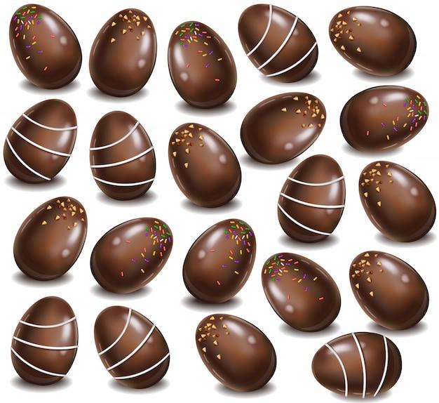 Fundo de padrão de ovos de chocolate