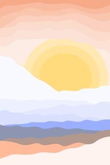 Fundo de padrão de paisagem minimalista abstarct. modern boho sun art ilustração em vetor plana