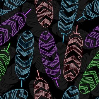 Fundo de padrão de penas de cor abstrata