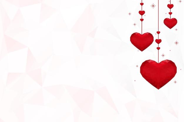 Fundo de padrão de prisma de corações laranja pendurado em vetor