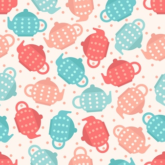 Fundo de padrão de teapot pastel colorido sem costura
