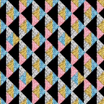 Fundo de padrão de triângulo de brilho colorido e transparente