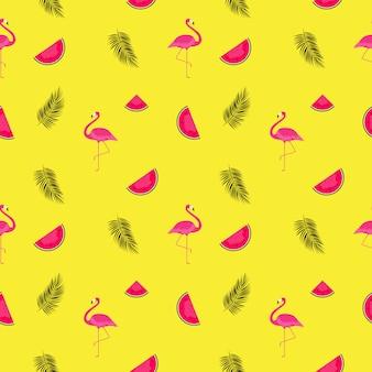 Fundo de padrão de verão com melancias e flamingos