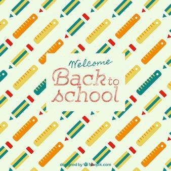 Fundo de padrão escolar com lápis e straightedge