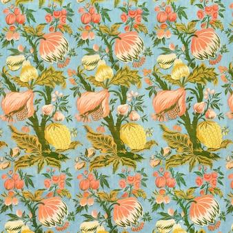 Fundo de padrão floral azul vintage
