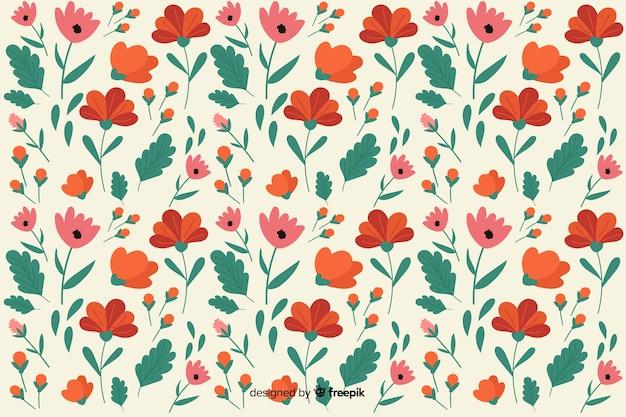 Fundo de padrão floral design plano