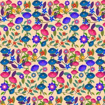 Fundo de padrão floral exótico pintado à mão