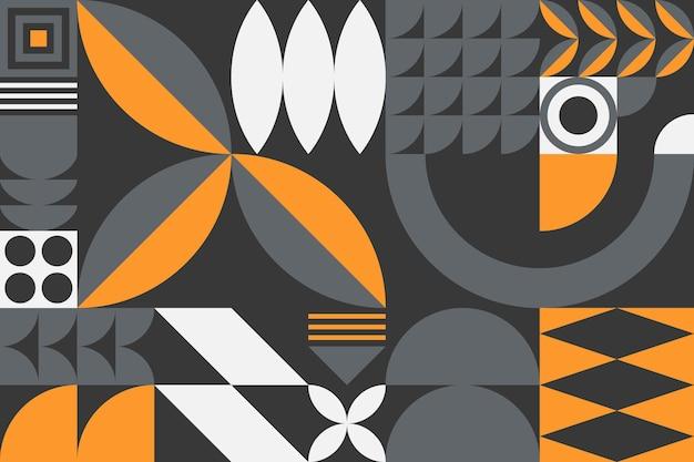 Fundo de padrão geométrico abstrato bauhaus. desenho geométrico minimalista na moda com formas e elementos simples. ilustração artística moderna do vetor.
