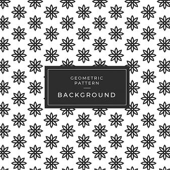 Fundo de padrão geométrico mandala de flor preto e branco