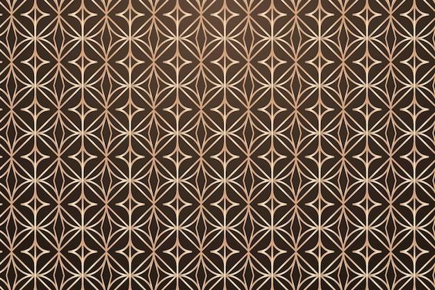 Fundo de padrão geométrico redondo dourado sem costura