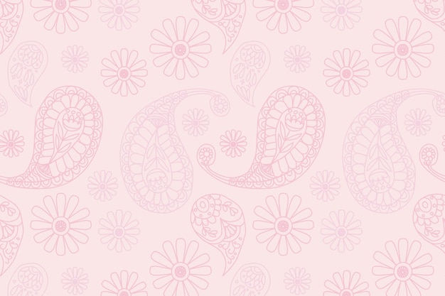 Fundo de padrão paisley indiano rosa pastel
