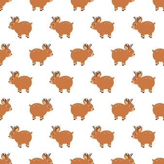 Fundo de padrão sem costura de natal de madeira de rena. fundo de ilustração. ilustração vetorial em camadas para fácil manipulação e coloração personalizada.