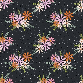 Fundo de padrão sem emenda buquês de flores coloridas