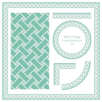 Fundo de padrão sem emenda de borda vintage definir vórtice espiral de polígono cruzar quadro de rendilhado.