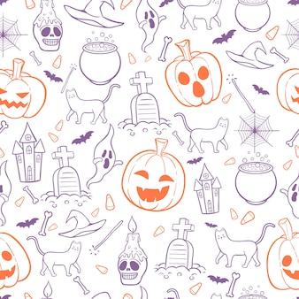 Fundo de padrão sem emenda de halloween doodles estilo