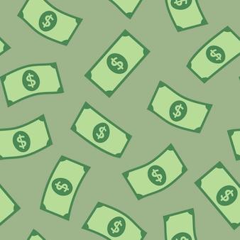 Fundo de padrão sem emenda de notas de dólar, ilustração de finanças de vetor de dinheiro