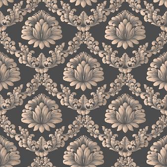 Fundo de padrão sem emenda de vetor do damasco textura de luxo elegante para papéis de parede
