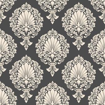 Fundo de padrão sem emenda do vetor do damasco. ornamento clássico de luxo à moda antiga em damasco