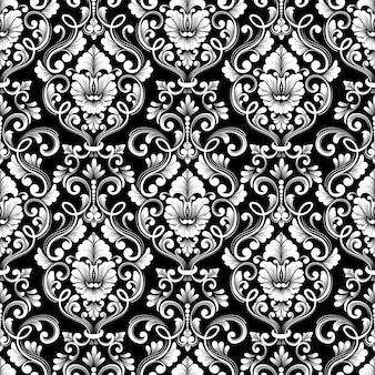 Fundo de padrão sem emenda do vetor do damasco. ornamento de damasco à moda antiga de luxo clássico, textura perfeita real victorian para papéis de parede, têxteis, envolvimento. modelo barroco floral requintado.