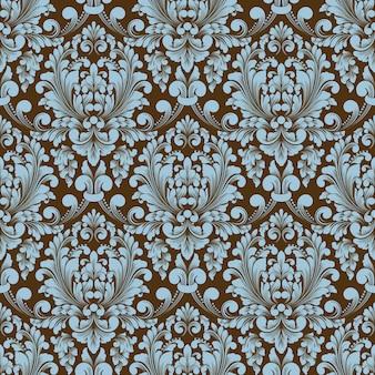 Fundo de padrão sem emenda do vetor do damasco. ornamento de damasco à moda antiga de luxo clássico, textura perfeita real victorian para papéis de parede, têxteis, envolvimento.