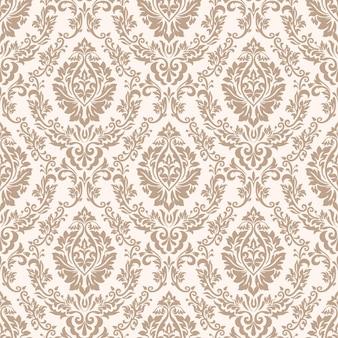 Fundo de padrão sem emenda do vetor do damasco. ornamento de damasco à moda antiga de luxo clássico, textura perfeita vitoriana real para papéis de parede, têxteis, envolvimento. modelo barroco floral requintado.