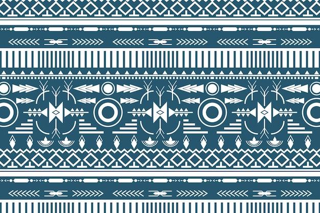 Fundo de padrão tribal, vetor de design de tecido branco e azul