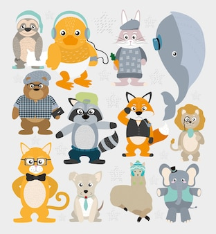 Fundo de padrões de animais bonitos