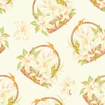 Fundo de padrões de cestas florais
