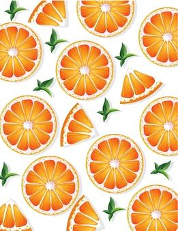 Fundo de padrões de fatias de laranja